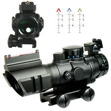 4X32 Red/Green/Blue Rifle Scope with Fiber Optic Sight BDC Recticle For Hunting
