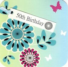 50th Birthday Hand-Finished Tag Tastic Card Greeting Cards By Yasmin
