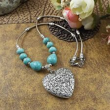 Antique Jewelry Carving Heart Shape Tibetan Silver Necklace Turquoise Pendant