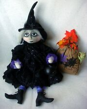 "Halloween Handpainted Handmade 24"" Witch Doll w/ Burlap Frog Bag"