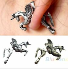 1x UNICORN horse pegasus stud earring flying horse pony solid UK Kawaii silver