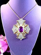 KENNETH J. LANE AMETHYST PAVE CRYSTAL RHINESTONE MALTESE CROSS BROOCH PENDANT