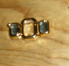 Avon 3 Clear & Dark Blue Glass Gems Gold Tone Pin Brooch Hat Scarf Lapel Jewelry