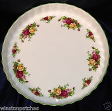 "ROYAL ALBERT 1998 OLD COUNTRY ROSES 11 3/4"" QUICHE DISH GREEN TRIM"