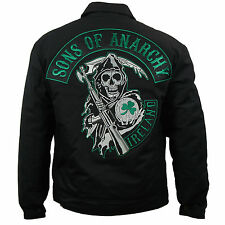 Authentic SONS OF ANARCHY Ireland Patch Mechanic Quilted Lined Jacket  M NEW
