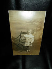 Vintage RP Postcard Young Little Girl holding an Old Riding Crop Whip