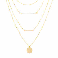 Gold-Tone Stainless Steel Freshwater Pearl Bead Bar Hammered Disc Chain Necklace