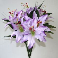Artificial Purple Tiger Lily Bush - 45 cm - 6 Flowers - Spring and Summer Flower