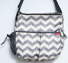 Skip Hop Duo Diaper Bag Gray Chevron Cream Messenger Bag