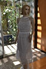Vintage Intricate an Delicate 100% Cotton Hand Crochet Dress White Fit S, M