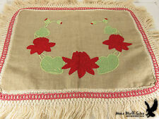 Red Flowers Green Heart Leaf Applique Fringed Couch Sofa Pillow Covering ANTIQUE