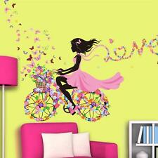 Bicycle Girls Love Ribbon Wall Stickers Removable Room Decor Art PVC Decals DIY