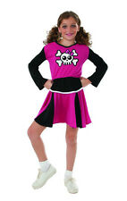 Girls Pink Skull Cheerleader Costume Gothic Spooky Cute Cheer Dress Size Md 8-10