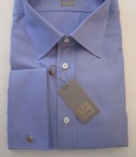 $225 FC NWT IKE BEHAR NEW YORK INDIGO BLUE SOLID SHIRT GOLD LABEL 16.5 LS 32/33