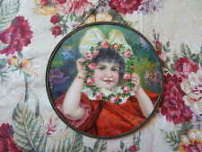 Antique Early 1900 Flue Cover Beautiful Little Girl w Wreath of Pink Roses