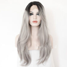 Hot Syntheitc Long Ombre Wigs Full hair Wig Lady Fashion Black to grey Cosplay