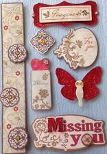MISSING YOU Chipboard Dimensional Stickers(7pc)Red Glitter•Imagine•Butterfly•