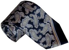 $265 NEW BRIONI NAVY w LT BLUE LT TAUPE & PURPLE PAISLEY 100% SMOOTH SILK TIE