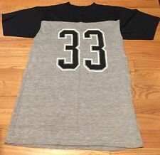 Vintage Allison # 33 Black & Gray Paper Thin T Shirt. Size Adult L Made In USA.