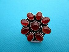 925 Silver Overlay Ring With Natural Carnelian Size Q 1/2 US 8.50  (rg2111)