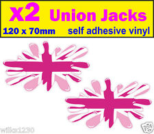 2 pink union jack splat decals stickers adhesive vinyl jdm Euro Drift vw car van