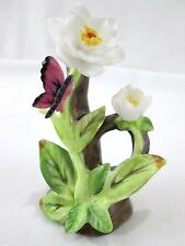 """George Lefton Royal Dover Bone China 3"""" Tall White Floral Butterfly Figurine"""