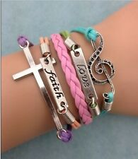 NEW Infinity Faith Love Cross Note Leather Charm Bracelet plated Silver FE2