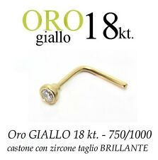 Piercing naso nose ORO GIALLO 18kt. con ZIRCONE taglio BRILLANTE yellow GOLD