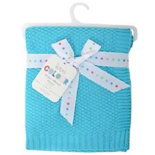 Silvercloud Turquoise Blue 100% Cotton Baby/babys Cot blanket/Wrap Boys/Girls