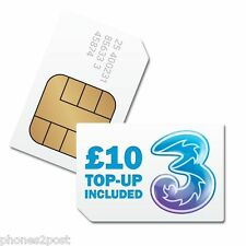 Three UK SIM Card with £10 Credit - New TRIO Pack - Nano / Micro / Standard size