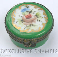 Limoges Vintage Peint Main Flowers With Green Border China Trinket Box