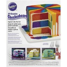 Wilton 2105-5745 Square Checkerboard Cake Pan Set {Bake colorful,Decorated} NEW