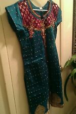 Vintage Indian Pakistani womens green dress India Ethnic Party casual XL