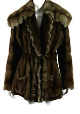 DESIGNER Brown Ranch Mink Fur & Barguzin Sable Fur Collar Belted Coat M