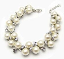 Silver Pearl Bracelet Charm Crystal Zircon Diamond for Wedding Prom Birthday