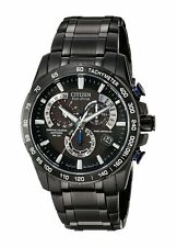 Citizen EcO-Drive Perpetual Chrono A-T Black Stainless Steel Watch #  AT4007-54E