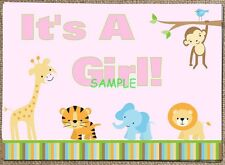 Jungle Animals Baby Shower Girl Edible Cake Topper Frosting Icing 1/4 Sheet