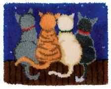 Cats under the stars Printed Canvas Latch Hook Rug Kit - Everything included
