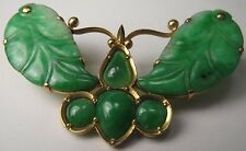 Vintage 18k Yellow Gold Chinese Jadeite Jade Butterfly Insect Brooch Pin