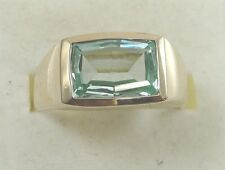 10K Yellow Gold Green Quartz Mens Ring Band Size 10 Marked KGC