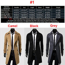 Men Trench Coat Winter Warm Long Wool Jacket Double Breasted Parka Outwear Tops