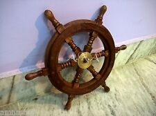 "Antique Vintage Marine Wooden Ship Wheel 15 "" Nautical Pirate Collectible Decor"