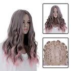 New Women's Gray Pink Ombre Hair Cosplay Wig Wavy Curly Full Long Costume Wigs