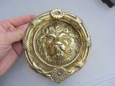 Brass Door Knocker Lion Head Wreath Loop Ribbon Flower Antique Georgian Style