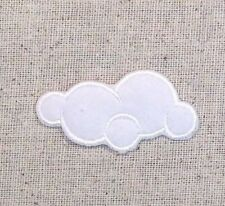 Iron On Embroidered Applique Patch Small White Fluffy Cloud Nature