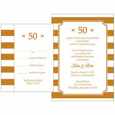 25 Personalized 50th Golden  Anniversary Invitations w/ Response Cards - AP-019R