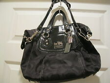 Coach Madison Black OP ART Satchel wi Duster Excellent Pre Owned Condition