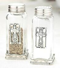 Decorative Cross Glass Salt & Pepper Shaker Set Kitchen Table Home Decor