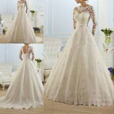 Long Sleeve A-line Backless Bride Bridal Gown Wedding Dress With Train Lace up