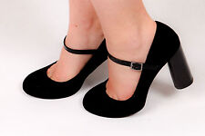 50s rockabilly style suede mary jane heels 3.5 round block heel M&S collection